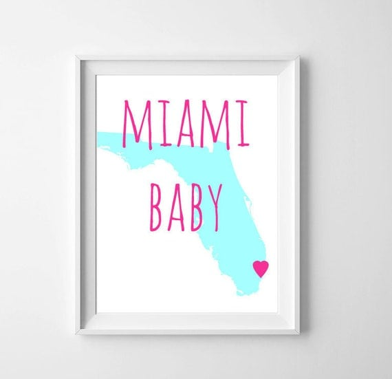 Baby Shower In Miami: Items Similar To Nursery State Art, Miami Florida Baby