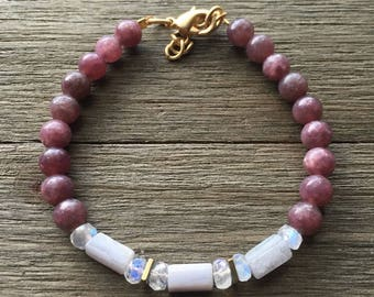 Gems For Anxiety || Lepidolite, Blue Lace Agate, Hematite || Beaded Bracelet
