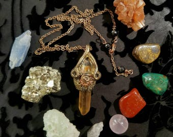 Citrine and lodolite pendant and crystal gift set