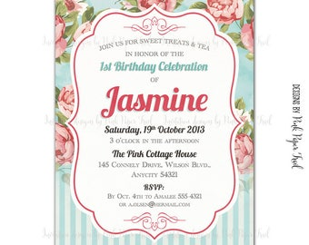 Shabby Chic Invitation Floral Tea Party High Tea Birthday Party Printable Invitation