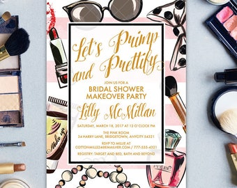 Bridal Shower Invitation Makeover Party, Let's Primp and Prettify Makeup Cosmetics Bridal Shower Printable Invitation
