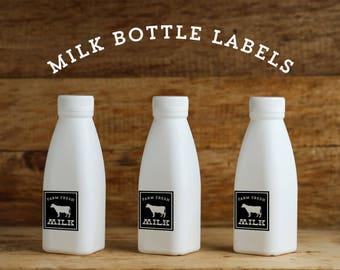 Modern Vintage Farm Party Milk Bottle Labels, Instant Download Printable Milk Bottle Labels, Farm Fresh Milk Bottle Labels