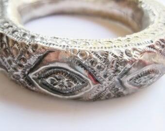 Oman Upper Arm Bangle, Vintage Bedouin Silver Rattle Bracelet