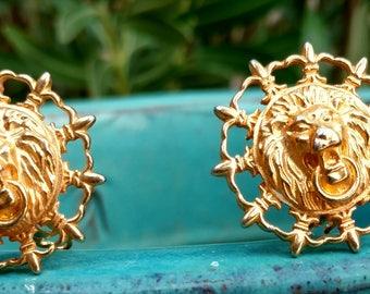 Vintage lion clip on Earrings, Lions, Royal jewelry, Clip On Earrings, Tribal, animal Earrings, Vintage Earrings, AK Jewelry