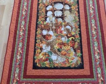 Autumn handmade lap quilt or rectangular tablecloth 68 x 50