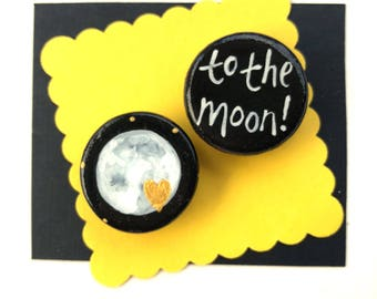 To The Moon MAGNET hand painted gold heart love you to the moon