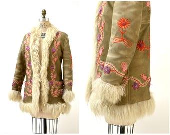 Vintage Embroidered Shearling Afghan Jacket Coat Small Medium//  70s Shearling Coat Embroidered Sheepskin Fur Boho Afghan Jacket By Yaqub