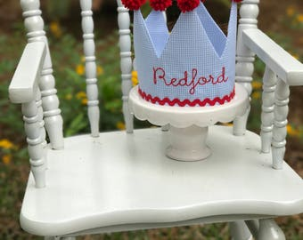 Blue Gingham Birthday Crown with Name
