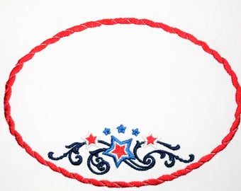 Patriotic stars embroidered quilt label to customize with your personal message