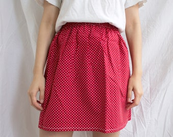 the Beatrix -skirt (vibrant red polka dot one size cotton print mini skirt with elastic waist UK size 6-10)