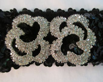Vintage Sequined Stretch Belt with Two Piece Rhinestone Buckle VC8N