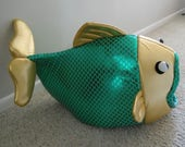 Fish Shaped Pet Bed Green Scales Gold Head Special Order for Nina