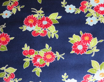 The Good Life Fabric -  Bonnie And Camille Floral Summer Dark Blue - 55151 16 - New In Stock 3 Day Special