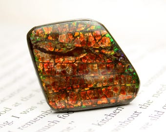 Stunning Red and Green, Opalescent Glowing Ammolite Cabochon Stone for Jewelry Making Supplies or other Artistic Medium