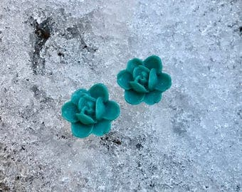 Teal Orchid Earrings