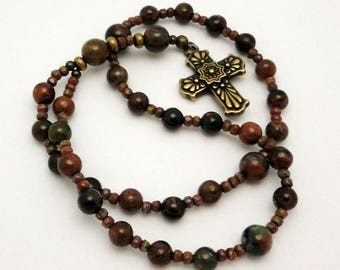 Protestant Prayer Beads / Anglican Rosary in Green Opal with TierraCast Bronzed Pewter Talavera Cross