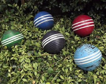 Croquet Balls, Set of 5 Balls, Lawn Game Balls, Vintage Wood Croquet Balls, Striped Croquet Balls, Multicolor Croquet Balls, Game Room Decor