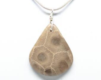 Petoskey Stone Teardrop Pendant