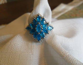 Vintage Sterling Silver Neon Apaptite Gemstone Ring Size 7