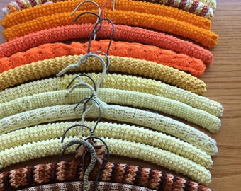 1970's Orange,Yellow and Brown Crochet Clothing Hangers Set of 18 -  vintage clothing hanger, womens hanger, crochet hanger, clothes hanger
