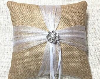 Ring Pillow, Burlap Ring Bearer Pillow, Burlap Ring Pillow, Rhinestone Ring Pillow, Tulle Ring Pillow, Wedding Ring Pillow, Rustic Wedding