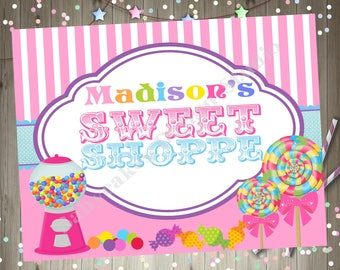 Sweet Shoppe Party Welcome Sign, Candyland Birthday Party Welcome Sign, pink purple girl, printable DIY digital
