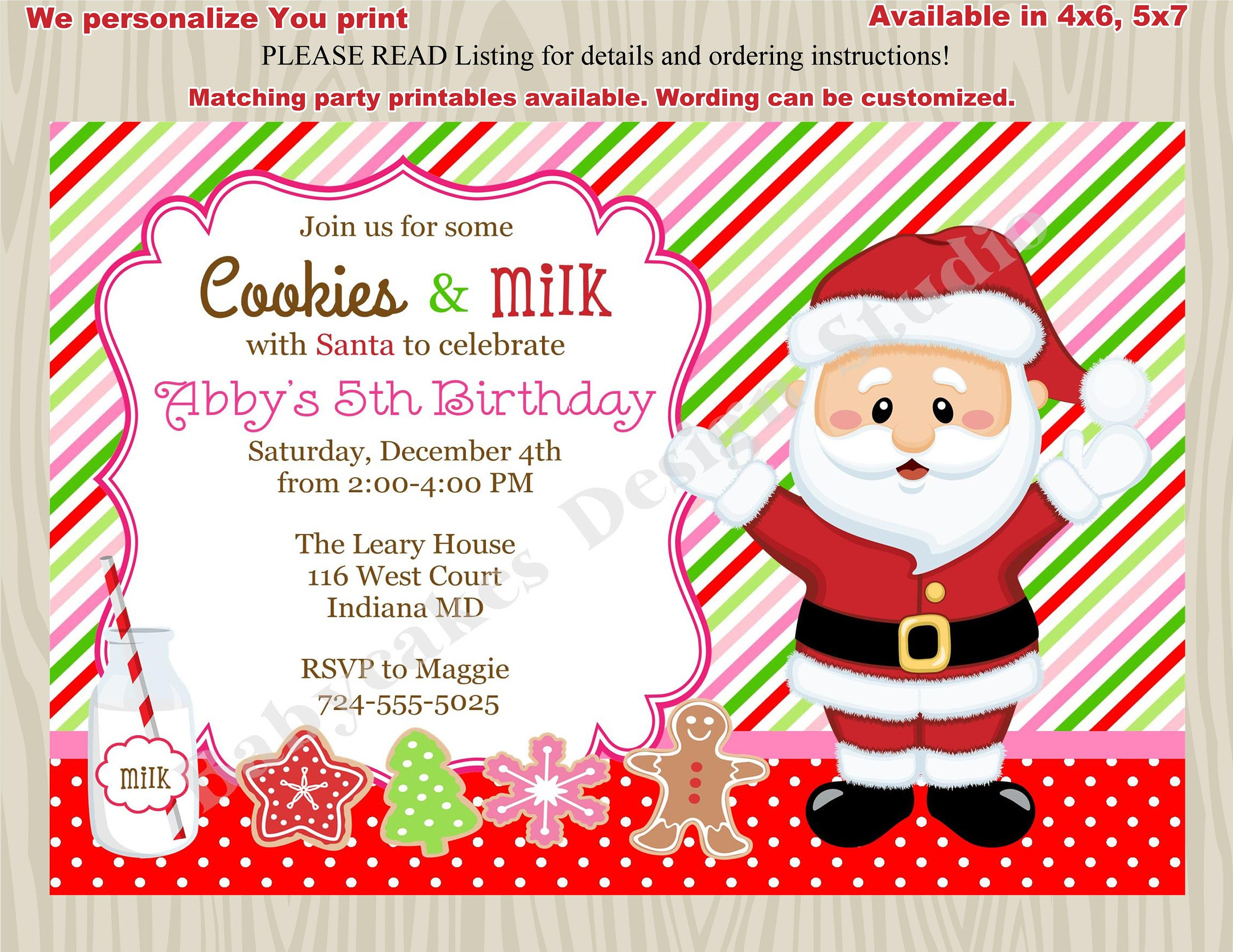 Cookies with Santa Invitations Milk and Cookies Birthday Party