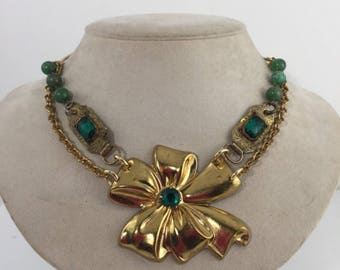 Emerald Green Necklace, Bold, Assemblage, Statement, Reclaimed, Up cycled, Re-purposed, Vintage, Antique Jewelry, OOAK