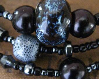 Black Gray Smoked Glass Beaded Wrap Memory Wire Bracelet Wrapped Bracelet
