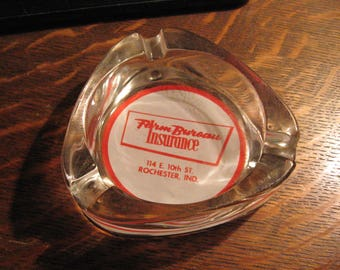 Farm Bureau Insurance Ashtray - Vintage 1960's Cigarettes Rochester Indiana USA