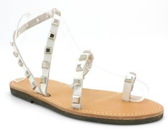 White Leather Studded Greek Sandals, , sandals  sandales femme 38 US 7-7.5