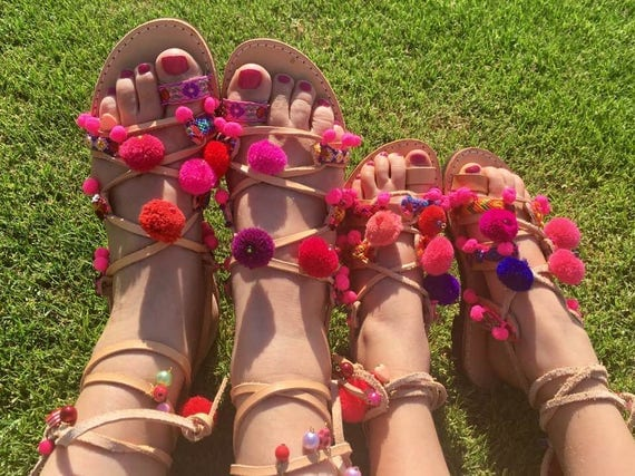 Mommy and me!  Boho Sandals toddler gladiator sandals-pompom sandals, kids sandals, twinning
