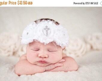 12% off Christening headband, Baby headband, newborn headband, baptism,  headband, photo prop, christening baby CROSS chiffon headband
