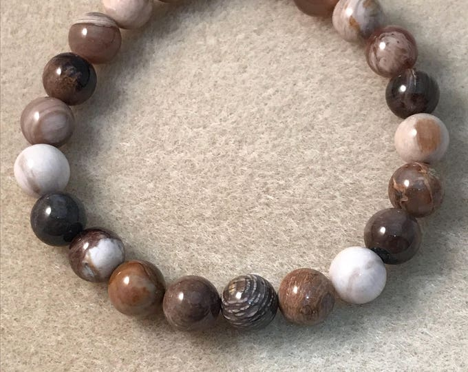 Opalized (Petrified) Wood 8mm Bead Stretch Bracelet With Sterling Silver Accent