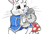 Giclee Art Print, Rabbit Art Print, Nursery Wall Decor, Home Decor, Fantasy Wall Art, Alice in Wonderland