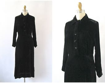 Vintage 30s Dress | Black Rayon Velvet Gown | Cute Ascot Tie | Art Deco, Gatsby, Old Hollywood, Film Noir | Size Small