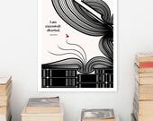 JANE AUSTEN Literary Art Print, Literary Poster, Pride and Prejudice Quote Print, Bookish Gift for Her, Bookworm Gift for Girlfriend