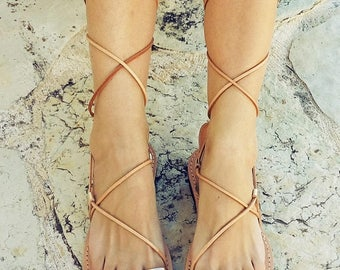 ON SALE Gold Lace up Sandals, Gladiator Sandals, leather Sandals, ancient greek