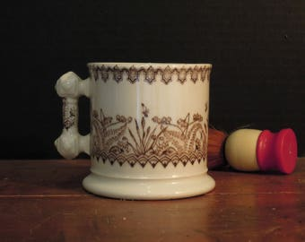 Vintage Antique Brown Ironstone Ironstone Victorian Shaving Mug / Shaving Soap Holder