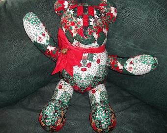 Large Soft Sculpture Bear  - Red, White, Green Christmas Bear