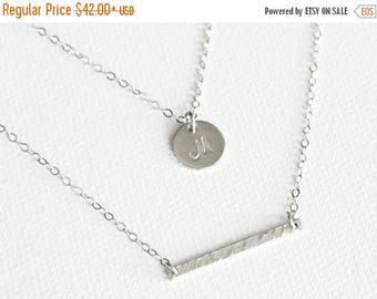 SALE - Silver Double Strand Initial Necklace / Personalized Necklace / Initial Disc and Bar Necklace / Mothers Necklace / Layered Necklace S