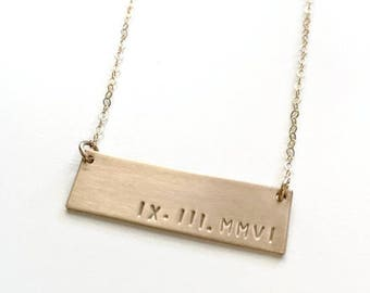 SALE - Custom Gold Bar Name Necklace, Roman Numeral , Date Bar Necklace, Wide Nameplate Bar Necklace, Couples Necklace, Initial Personalize