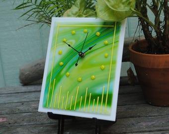 Fused Glass Quartz Clock- Wispy Green with Yellow