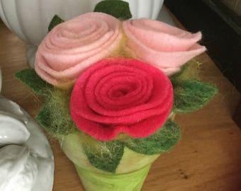 Felted Rose Pot