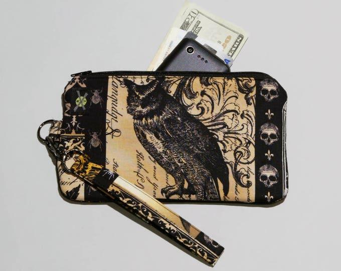 Gothic Antique Nevermore Owl Phone Purse Wristlet, Zipper Pouch, Wallet Wristlet, Detachable Strap, Black Brown