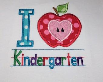 Kindergarten shirt, Girls kindergarten shirt, I love Kindergarten, school shirt, back to school, personalized Embroidered & Appliqued