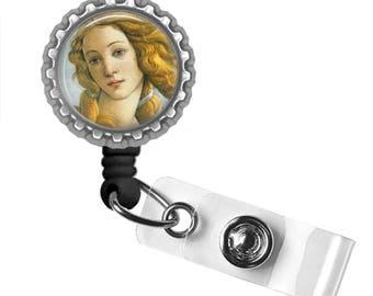 Birth of Venus by Botticelli..Retractable ID Badge Reel.. ID Holder, Bottle Cap ID Badge.. Great Gift