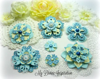 MME Collectable Light Blue and Ivory Handmade Paper Embellishments, Paper Flowers for Scrapbooking Cards Tags Mini Albums and Paper Crafts