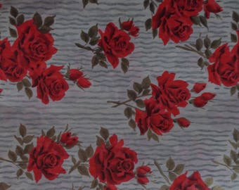 1 Sheet Vintage Red Pink Roses Gray Stripes All Occasion Gift Wrap Wrapping Paper