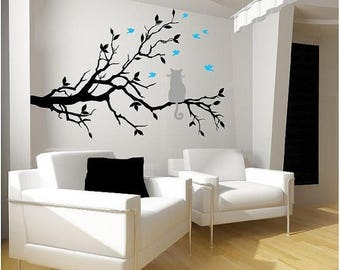 20% OFF Cat on a tree branch- birds Vinyl Lettering  animal Decal wall words graphics Home decor bedroom  itswritteninvinyl